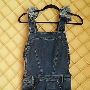 Kendal +Kylie overalls, dark wash, distre…